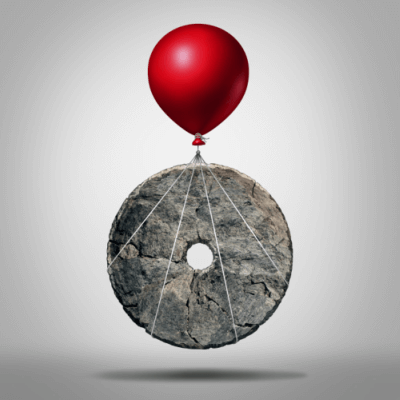 Technology progress and invention revolution, symbol as an early stone wheel being lifted by a balloon as a modernization metaphor for advancing innovation as an icon for business evolution and continuous process,